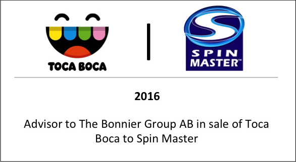 2016 Advisor to The Bonnier Group AB in sale of Toca Boca to Spin Master