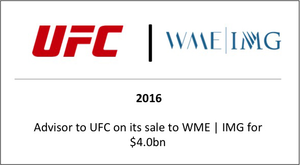 2016 Advisor to UFC on its sale to WME | IMG for $4.0bn