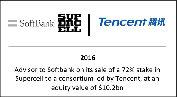 2016 Advisor to Softbank on its sale of a 72% stake in Supercell to a consortium led by Tencent, at an equity value of $10.2bn