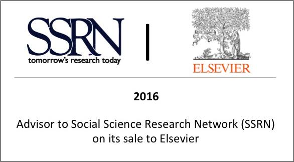 2016 Advisor to Social Science Research Network (SSRN) on its sale to Elsevier