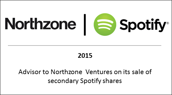 2015 Advisor to Northzone Ventures on its sale of secondary Spotify shares