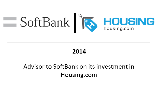 2014 Advisor to Softbank on its investment in Housing.com