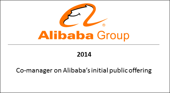 2014 Co-manager on Alibaba's initial public offering