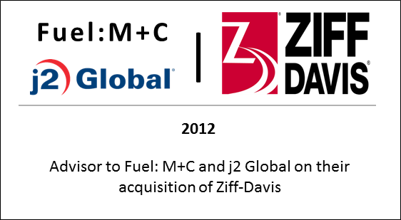 2012 Advisor to Fuel: M+C and J2 Global on their acquisition of Ziff Davis