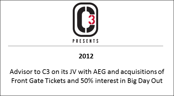2012 to C3 on its JV with AEG and acquisitions of Front Gate Tickets and 50% interest in Big Day Out