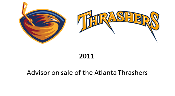 2011 Advisor on sale of the Atlanta Thrashers