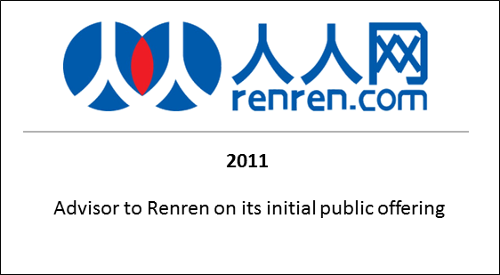 2011 Advisor to Renren on its initial public offering