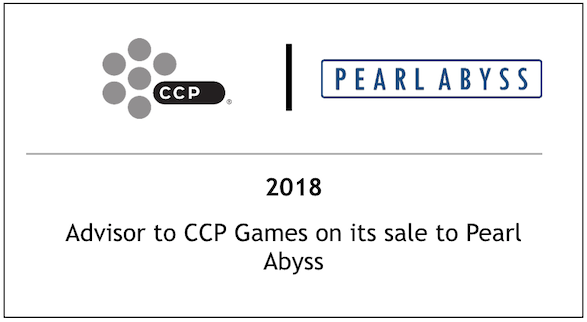 2018 Advisor to CCP Games on its sale to Pearl Abyss