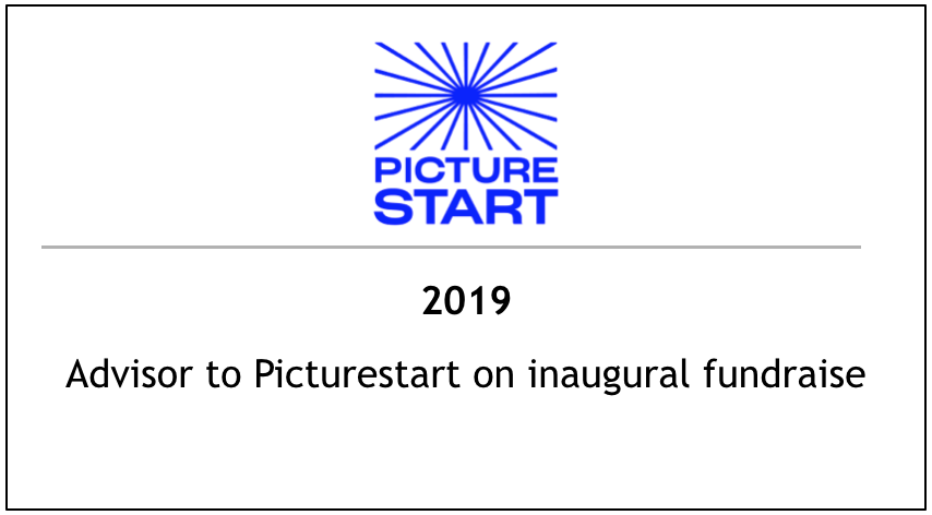 2019 Advisor to Picturestart on inaugural fundraise