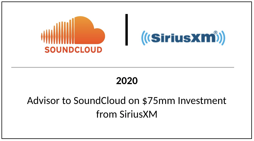 2020 Advisor to SoundCloud on $75mm Investment from SiriusXM