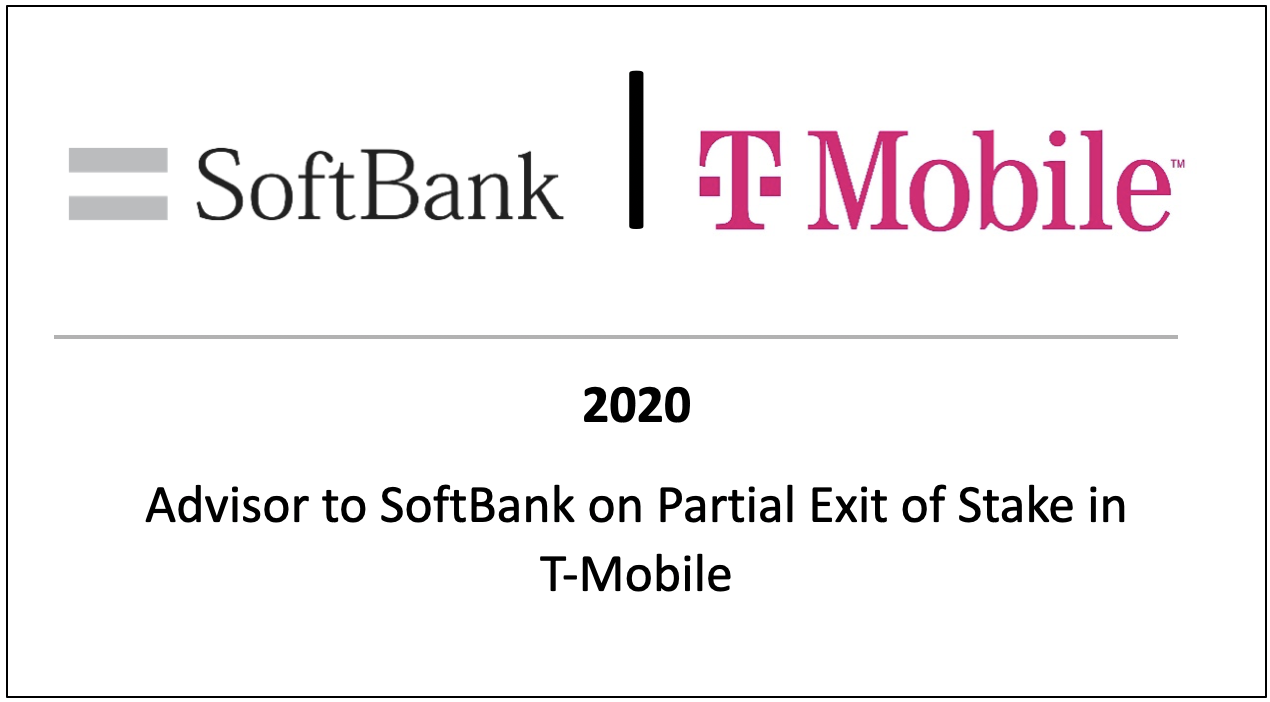 2020 Advisor to Softbank on Partial Exit of Stake in T-Mobile