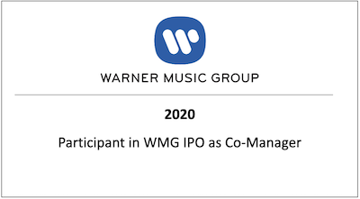 Participant in WMG IPO as Co-Manager