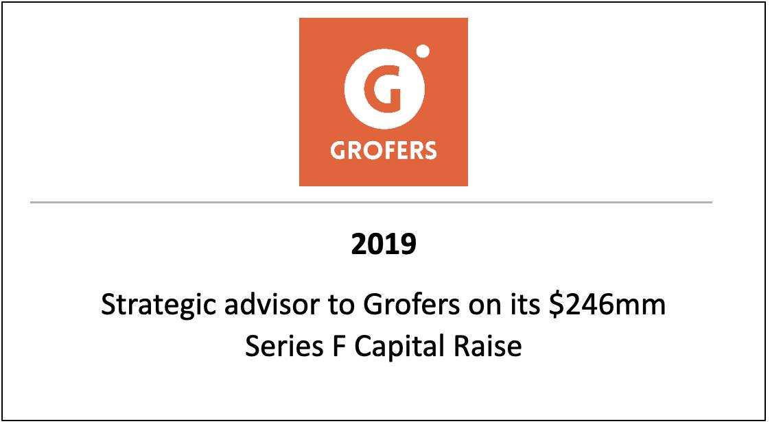 Strategic advisor to Grofers on its $246mm Series F Capital Raise