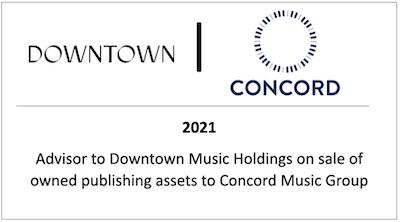 Advisor to Downtown Music Holdings on sale of owned publishing assets to Concord Music Group