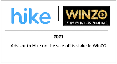Advisor to Hike on the sale of its stake in WinZO